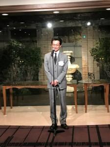 二次会会場での、京都いけばな協会会長 桑原仙渓先生  ご挨拶